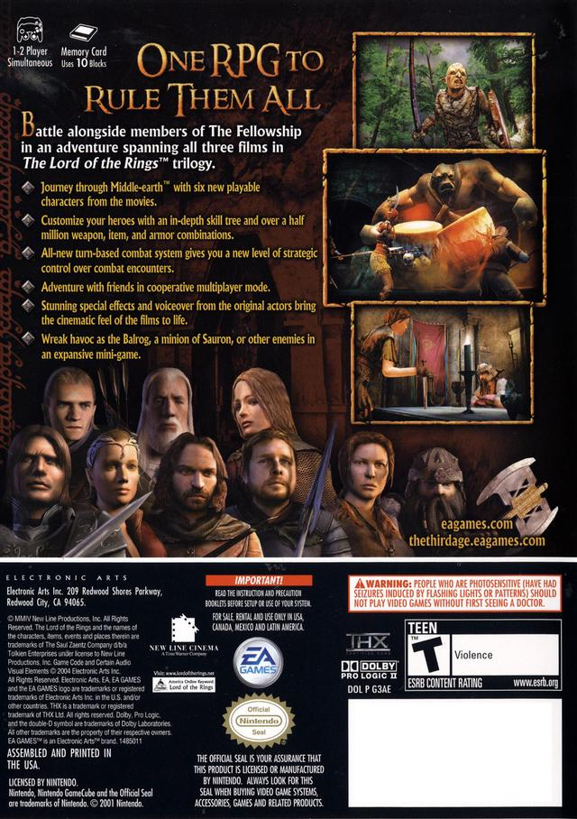 download lord of the rings the third age gamecube rom
